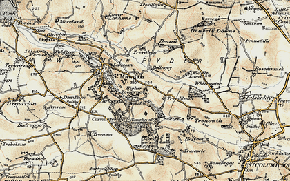 Old map of Higher Tolcarne in 1900