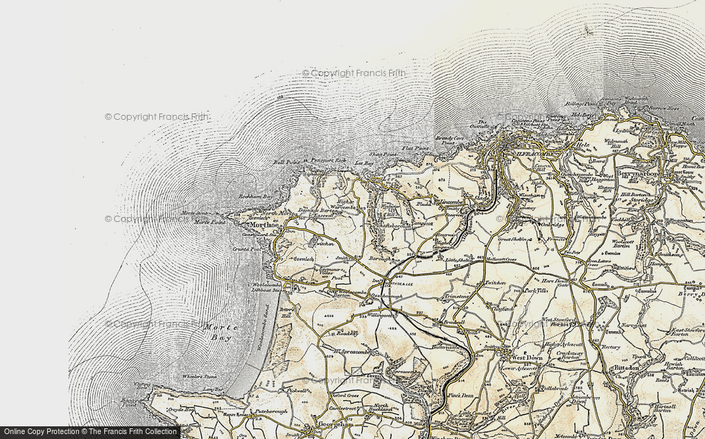 Old Map of Historic Map covering Lee Bay in 1900