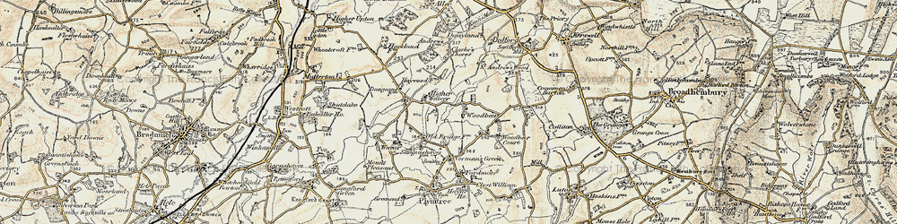 Old map of Woodbeer Court in 1898-1900