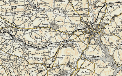 Old map of Highertown in 1900