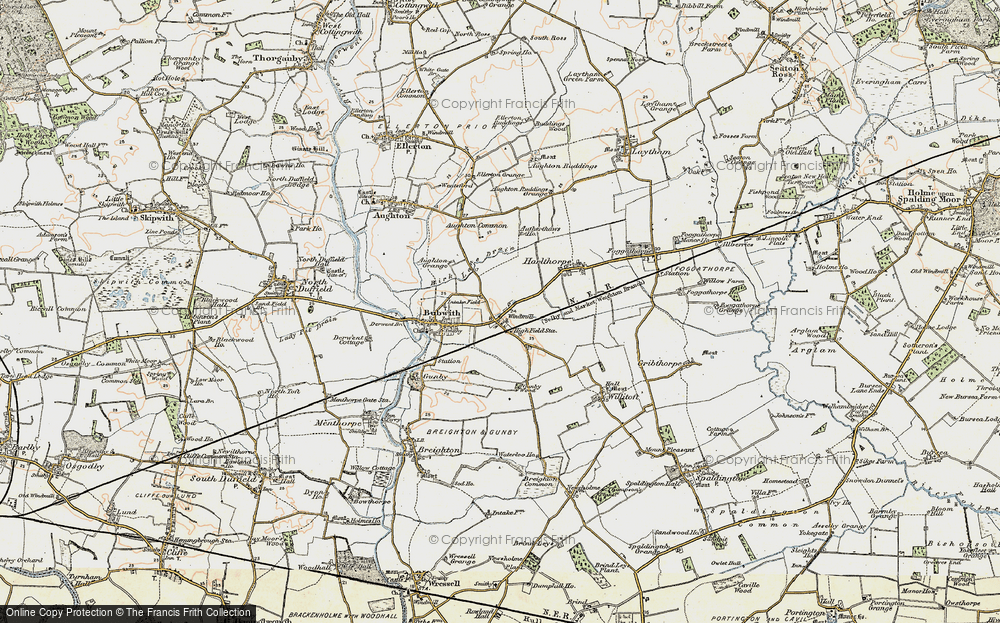 Old Map of Historic Map covering Aughton Common in 1903