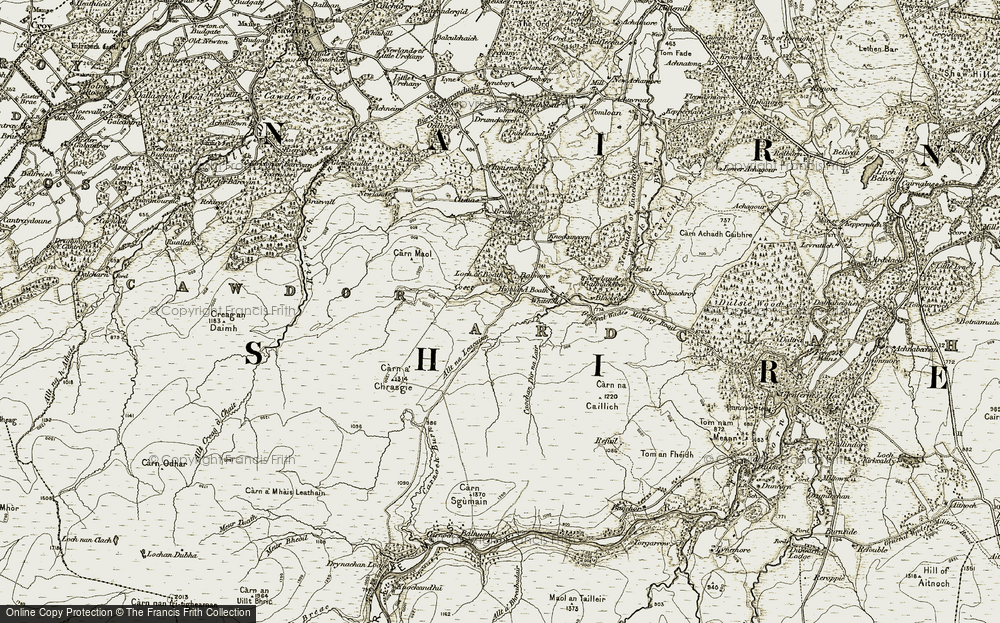Old Map of Historic Map covering Allt na Leacainn in 1908-1912