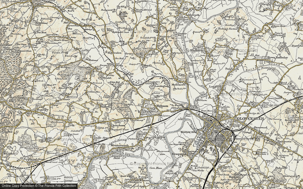 Old Map of Historic Map covering Lassington in 1898-1900