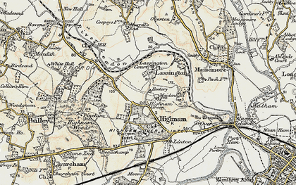 Old map of Lassington in 1898-1900