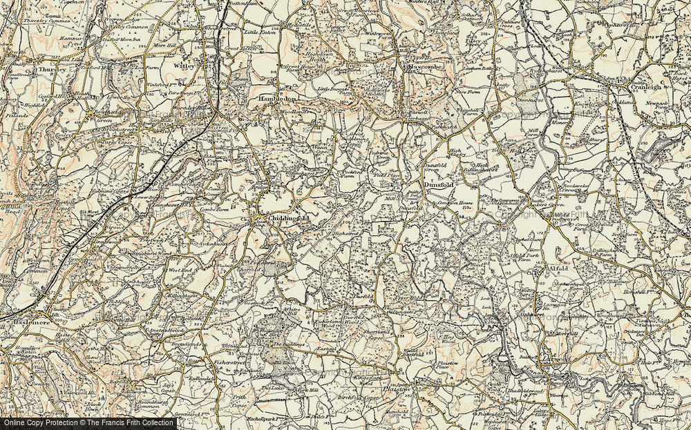 Old Map of Historic Map covering White Beech in 1897-1909