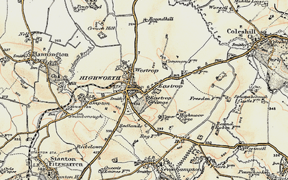 Old map of Highworth in 1898-1899