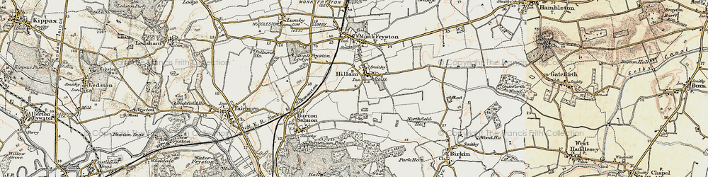 Old map of Hillam in 1903