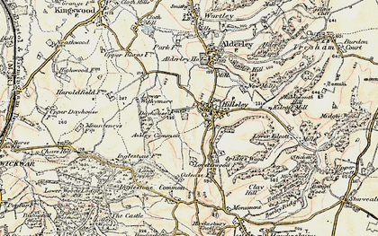 Old map of Assley Common in 1898-1899