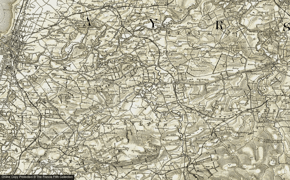 Old Map of Historic Map covering Auld Byres in 1904-1906