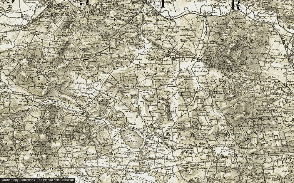 Old Map of Historic Map covering Auchronie in 1909