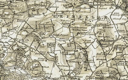 Old map of Auchronie in 1909