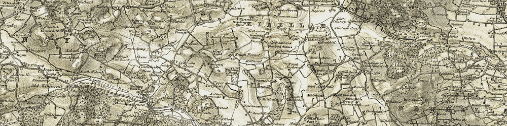 Old map of Aquhorsk in 1909