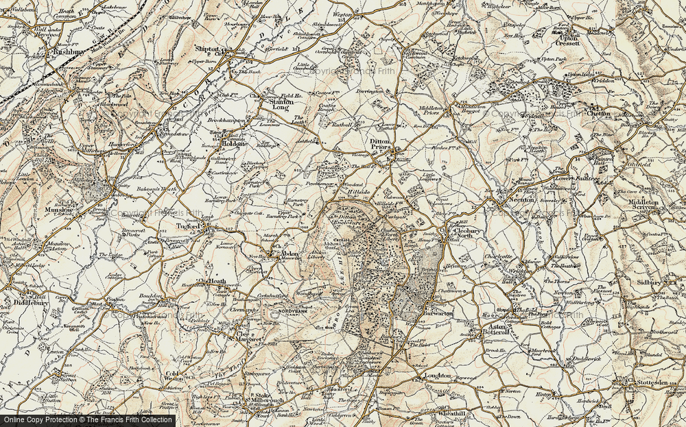 Old Map of Historic Map covering Abdon Burf in 1902