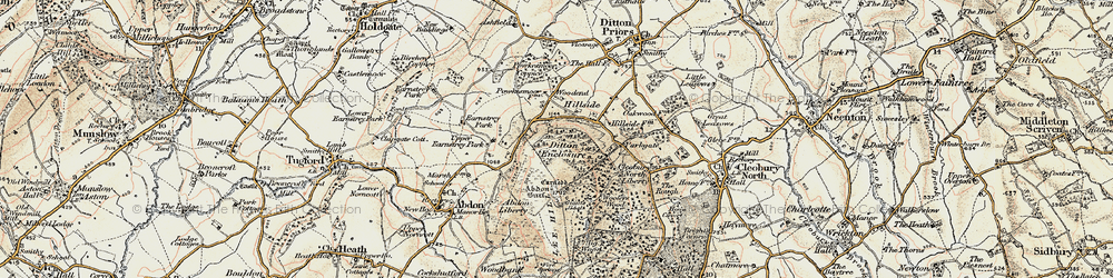 Old map of Abdon Burf in 1902