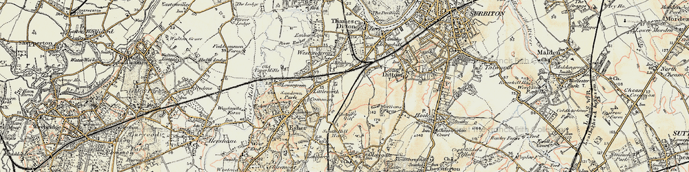 Old map of Hinchley Wood in 1897-1909
