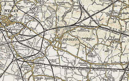 Old map of Hindley in 1903