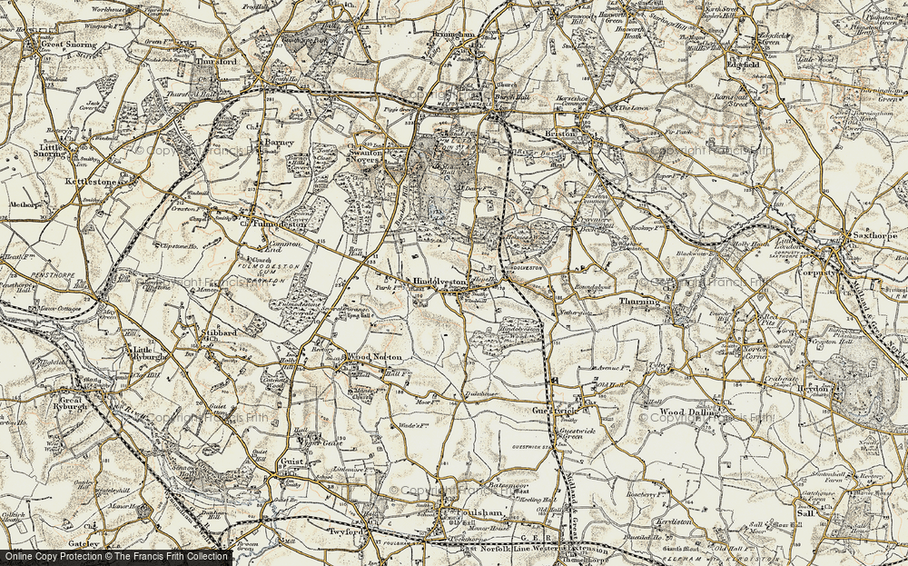 Old Map of Historic Map covering Wood Severals in 1901-1902