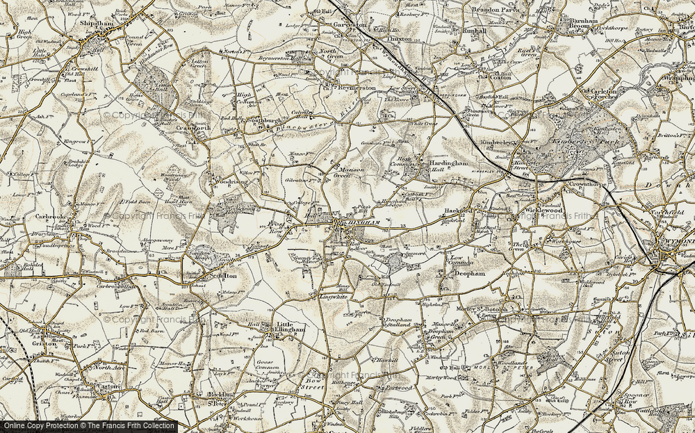 Old Map of Historic Map covering Sea Mere Fm in 1901-1902