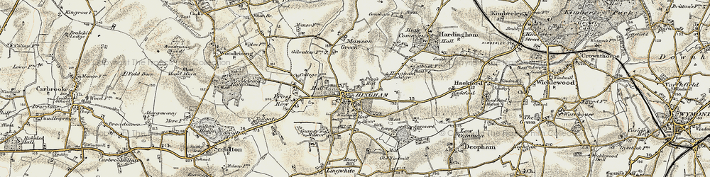 Old map of Hingham in 1901-1902