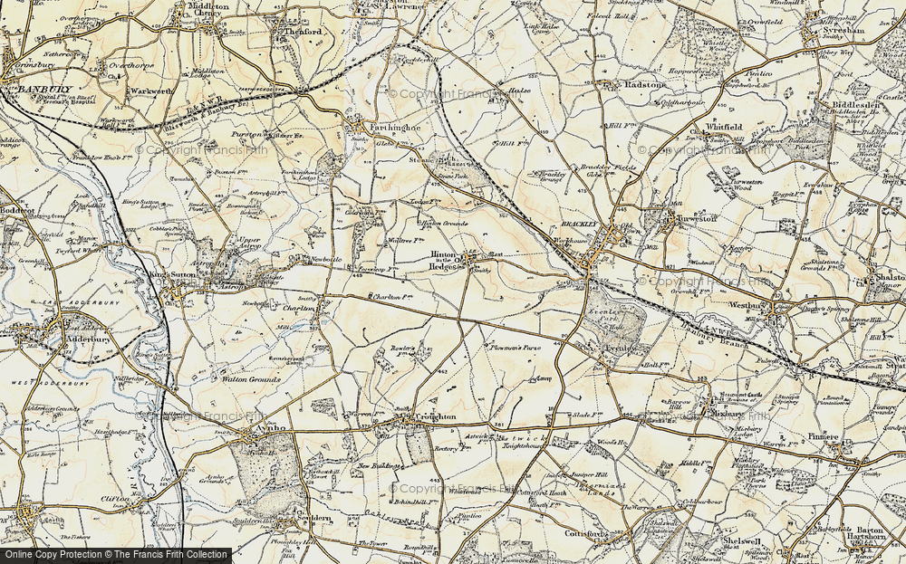 Old Map of Hinton-in-the-Hedges, 1898-1901 in 1898-1901