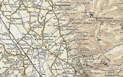 Old map of Hirwaen in 1902-1903
