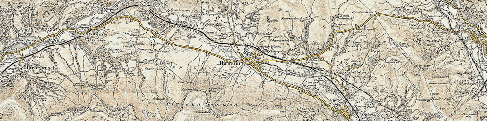 Old map of Afon Cynon in 1899-1900