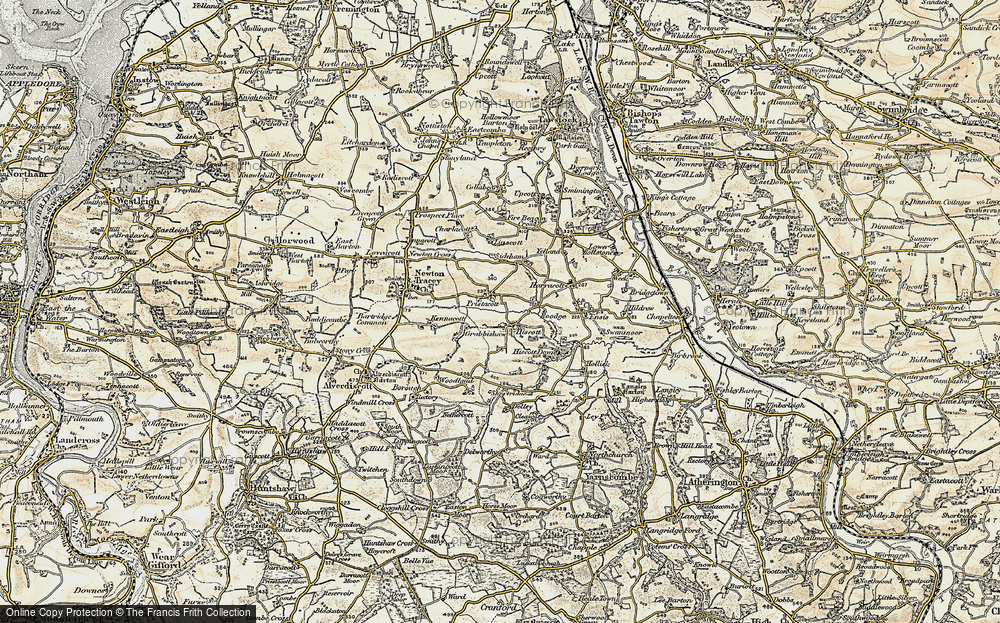 Old Map of Historic Map covering Linscott in 1900