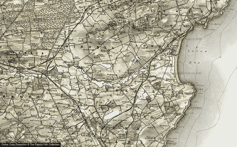 Old Map of Historic Map covering Bandoch in 1907-1908