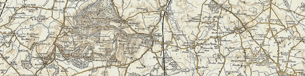 Old map of Hodnet in 1902