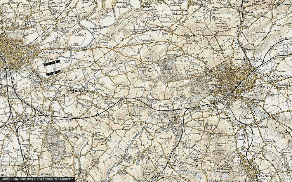 Old Map of Historic Map covering Woodcock Hill in 1903