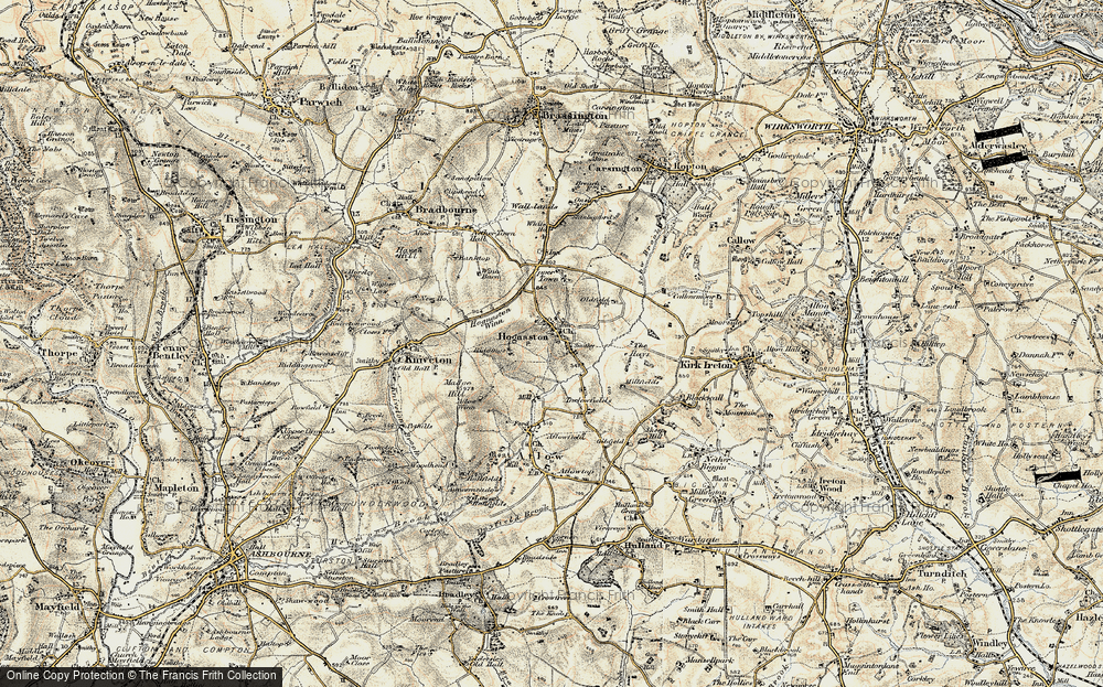 Old Map of Historic Map covering Atlow Winn in 1902