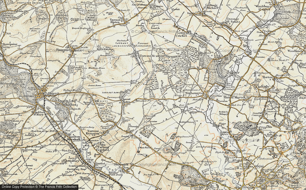 Old Map of Historic Map covering Abbeycroft Down in 1897-1909