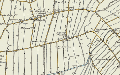 Old map of Whaplode St Catherine in 1901-1902