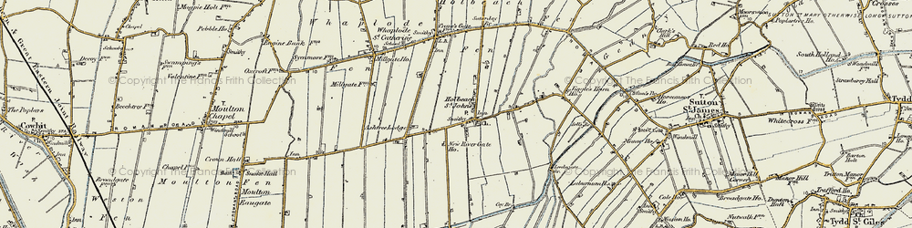Old map of Whaplode Fen in 1901-1902