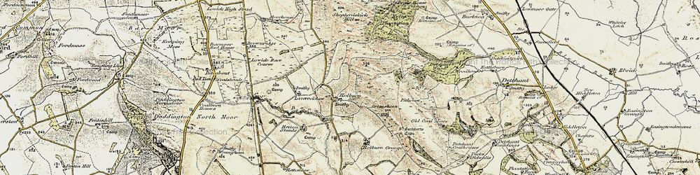 Old map of Laverock Law in 1901-1903