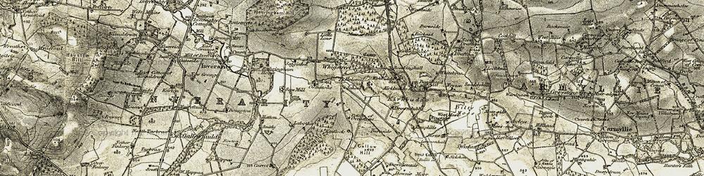 Old map of Whitebrae in 1907-1908