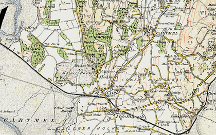 Old map of Holker Hall in 1903-1904