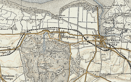 Old map of Holkham in 1901-1902