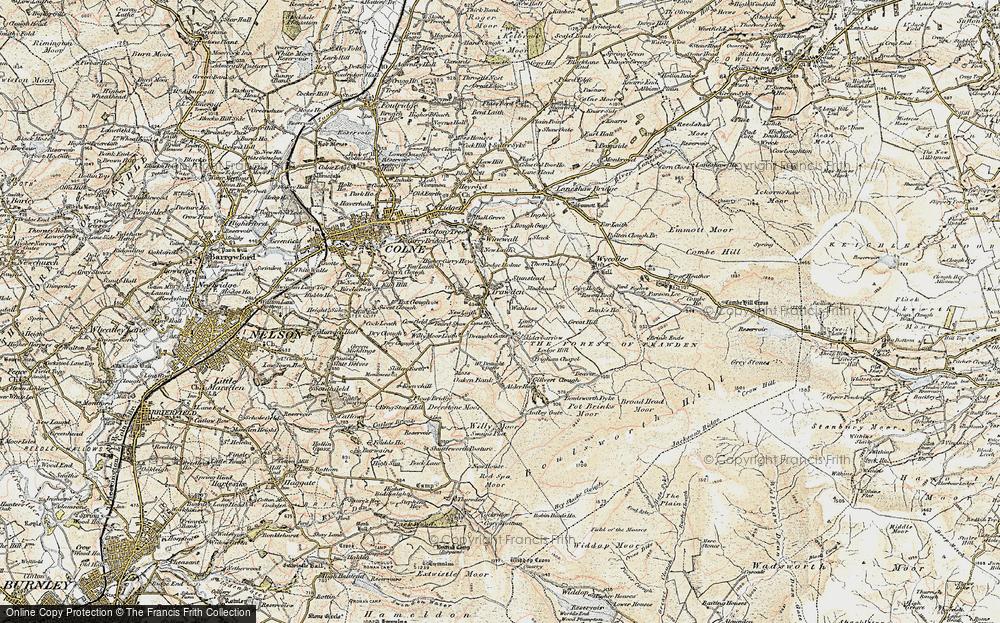 Old Map of Historic Map covering Alder Hurst in 1903-1904
