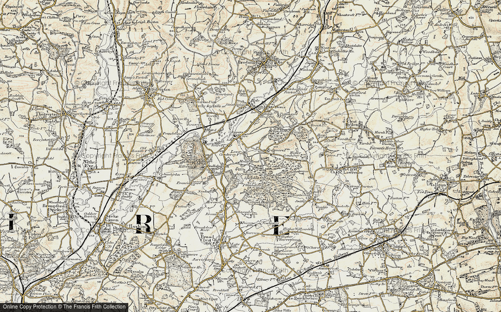 Old Map of Historic Map covering Ashclyst Forest in 1898-1900