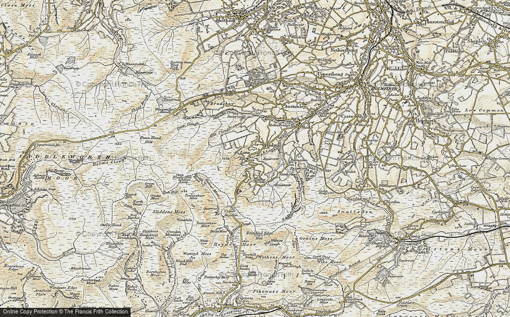Old Map of Historic Map covering Tooleyshaw Moss in 1903
