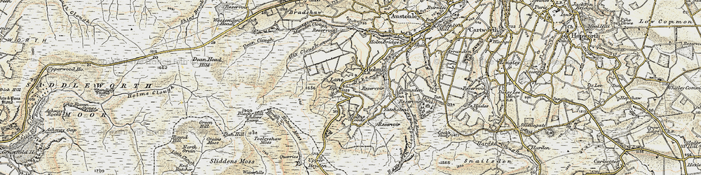 Old map of Tooleyshaw Moss in 1903