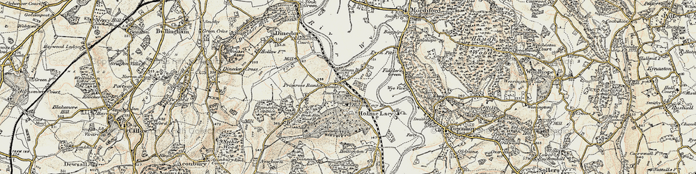 Old map of Holme Lacy in 1899-1901