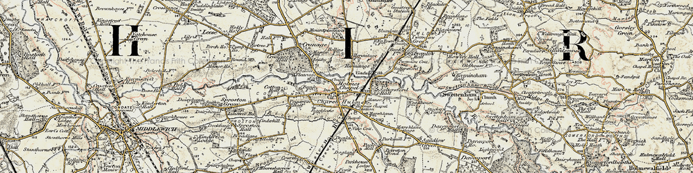 Old map of Holmes Chapel in 1902-1903