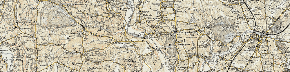 Old map of Holt Fleet in 1899-1902
