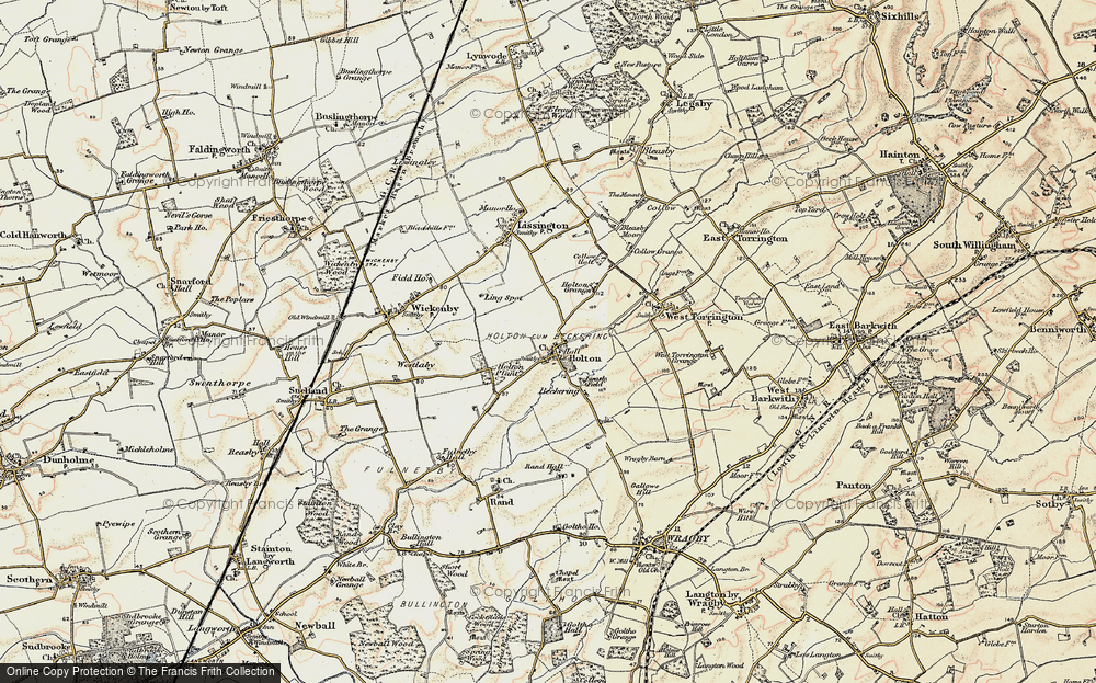 Old Map of Historic Map covering Wickenby Aerodrome in 1902-1903
