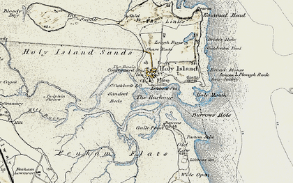 Old map of Holy Island in 1901-1903
