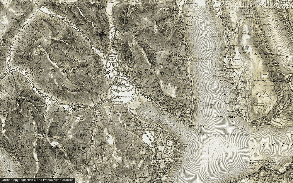 Old Map of Historic Map covering Tom nan Ragh in 1905-1907