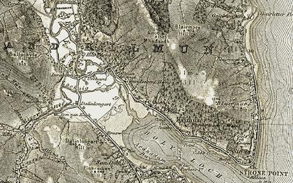 Old map of Tom nan Ragh in 1905-1907