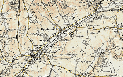Old map of Holybourne in 1897-1909